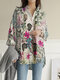 Vintage Flower Print Long Sleeves Casual Loose Blouse With Pockets - Red