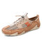 Men Mesh Fabric Splicing Breathable Slip Resistant Soft Comfy Casual Shoes - Sand Color