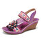 SOCOFY Handmade Leather Beaded Floral Stitching Adjustable Strap Slingback Wedge Sandals - Purple