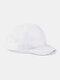 ユニセックスメッシュ通気性調節可能なショートカーブ野球帽 - 白い