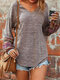 Casual V-neck Patchwork Long Sleeve Plus Size Blouse - Brown
