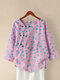 Floral Printed Long Sleeve O-neck Frog Button Blouse For Women - Pink