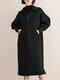 Solid Color Zipper Pocket Long Sleeve Casual Dress for Women - Black