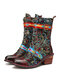 SOCOFY Gorgeous Color Flowers Cloth Leather Splicing Buckle Strap Lace-up Zipper Mid-calf Boots - Coffee