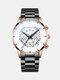 Business Men Watch Steel Band Waterproof Calendar Quartz Watch - White Dial Brown Shell Black Ban