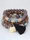 Vintage Multicolor Beads Multi-layer Bracelet Temperament Elephant Pendant Bracelet - Black