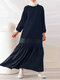 Striped Print Patchwork Long Sleeve Plus Size Dress for Women - Blue