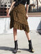Leopard Print Pleated A-line Zipper Plus Size Skirt - Coffee