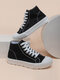 Women Casual Solid Color Board Shoes Soft Comfy Canvas Boots - Black