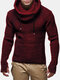 Mens Knit Cut Out Cuff Warm Casual Drawstring Pullover Sweaters - Wine Red
