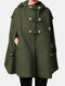 Solid Color Button Pocket Long Sleeve Casual Cape Coat for Women - Army green