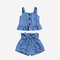 Girl's Ruffled Slip Vest+Lace-up Pants Casual Set For 1-7Y - Blue
