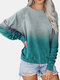 Tie-dyed Print Long Sleeve Casual T-Shirt for Women - Lake blue