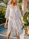 Women Tassel Hollow Out Thin Solid Color Sun Protection Cover Up - White