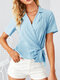Solid Color Cross Knotted Short Sleeve V-neck Blouse For Women - Blue