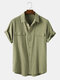 Men 100% Cotton Solid Color Double Pocket Casual Shirt - Green