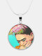 Printed Woman Black Cat Glass Pendant Men Women Long Necklace Jewelry Gift - #05