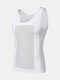 Mens Abdomen Control Breathable Quick-Drying Thin High Elasticity Skinny Tank Top Shapewear - White