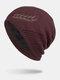男性冬Plusベルベット刺繡小麦の耳屋外ジャカードロングニット暖かいビーニー帽子 - ワインレッド