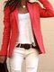 Solid Color Casual Long Sleeve Blazer Suit Jacket For Women - Red