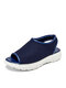 Women Breathable Knitted Fabric Peep Toe Comfy Slip On Sports Casual Sandals - Blue