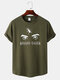 Mens Abstract Eye Print Curved Hem Sport Style Cotton Short Sleeve T-Shirts - Army Green