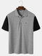 Mens Two Tone Letter Embroidery Casual Short Sleeve Golf Shirt - Gray