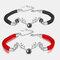 2 Pcs HD Bracelets Couple Nano-Sculpture Set Bracelets à Boucle Aimant Réglable à Projection Claire - #01