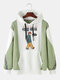 Mens Cotton Patchwork Chinese Cartoon Print Casual Pullover Drawstring Hoodie - Green
