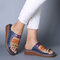 Large Size Women Comfy Retro Stitching Splicing Hollow Wedges Sandals - #02