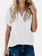 Solid V-neck Short Sleeve Knotted Women Chiffon Blouse - White