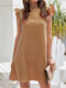 Women Lace Hollow Solid Color Sleeveless High Neck Casual Dress - Khaki