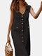 Solid Color V-neck Front Button Pockets Sleeveless Cotton Midi Dress - Black