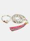 2Pcs Natural Stone Colorful Tassel Necklace Temperament Beads Bracelet - Beige