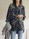 Print Long Sleeve Lapel Plus Size Linen Shirt with Button - Navy