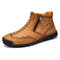 Men Double Side Zipper Hand Stitching Microfiber Leather Ankle Boots - Yellow