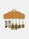 3 Pcs Vintage Irregular Women Earrings Set Drop-Shape Hollow Flower Hand-Woven Tassel Earrings - #02