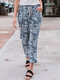 Camouflage Printed Elastic Waist Side Pockets Casual Pants - Blue