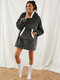 Women Flannel Wearable Blanket Hoodies Thicken Warm Patched Home Oversized Sweatshirt With Handy Pocket - Grey