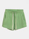 Women Drawstring Pure Biker Shorts For Sports Gym Home Lounge Bottoms With Pockets - Green