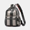 Women Striped Color Block Large Capacity Anti-theft Backpack - Gray