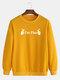 Mens Cotton Slogan Printed Plain Casual Crew Neck Pullover Sweatshirts - Yellow