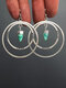 Vintage Double Circle Women Earrings Bullet Head Turquoise Pendant Earrings - Silver