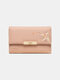 Women Plant Money Clips Coin Purse Wallet - Pink