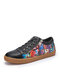 SOCOFY Women Side Zipper Decor Cool Fashion Street Letter Art Printed Comfy Casual Sneakers Lace Up Running Walking Shoes stitching Skate Shoes For Easter Gifts - Black