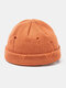 Unisex Acrylic Solid Color Hole Knitted Hat Brimless Beanie Landlord Cap Skull Cap - Orange