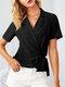 Solid Color Cross Knotted Short Sleeve V-neck Blouse For Women - Black