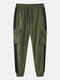 Mens Side Stripe Cotton Casual Drawstring Beam Feet Jogging Pants With Flap Pocket - Green