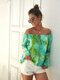 Tie-Dye Floral Print Ruffled Sleeves Off Shoulder Casual Blouse For Women - Green