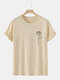 Mens Line Drawing Rose Graphic 100% Cotton Short Sleeve T-Shirts - Apricot